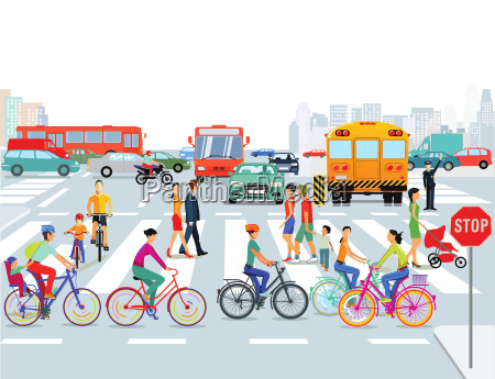 city with cars cyclists and pedestrians