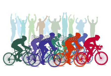 cycle race competition with spectators illustration