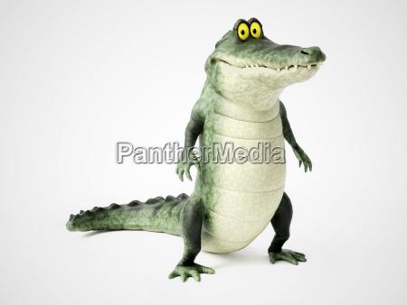 3d rendering eines cartoon krokodils stehend