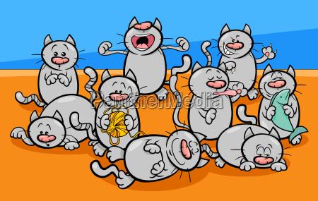 funny cats characters cartoon illustration