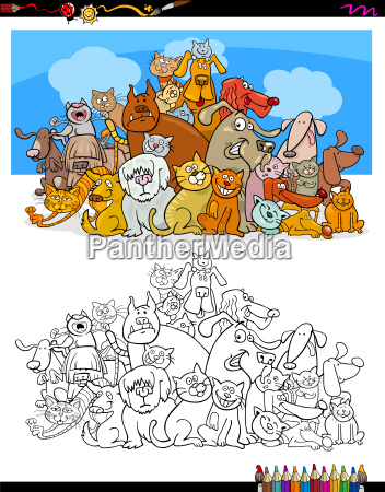 cats and dogs characters color book