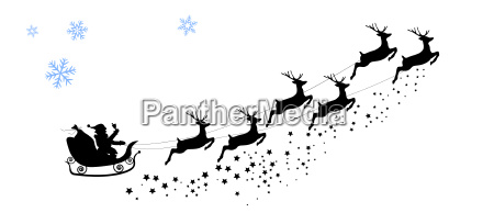 silhouette santa claus reitet auf