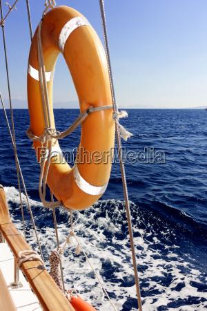 lifebuoy on the sailboat