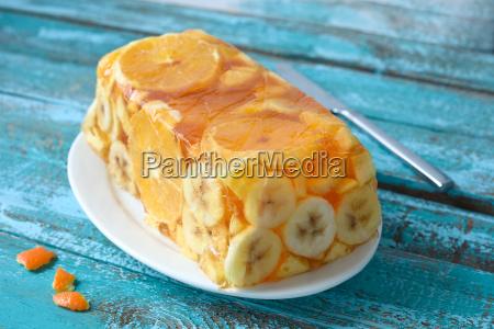 jello fruit cake dessert with banana