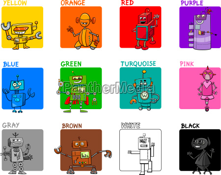main colors cartoon educational set with
