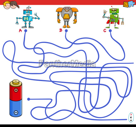 paths maze game with robots and