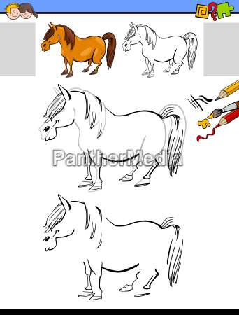 drawing and coloring activity with horse