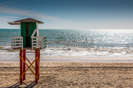 lifeguard tower at the beach of