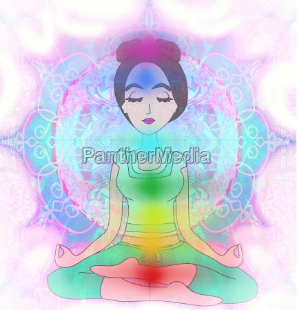 yoga maedchen im lotussitz