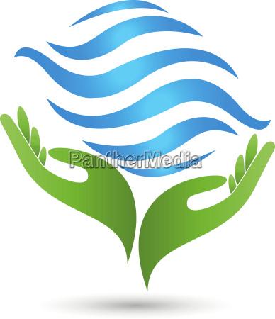 zwei haende wellen wasser logo