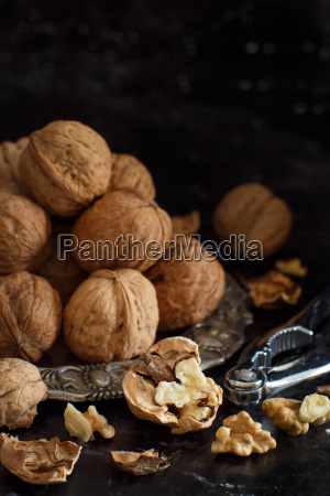 fresh walnuts on an old wooden