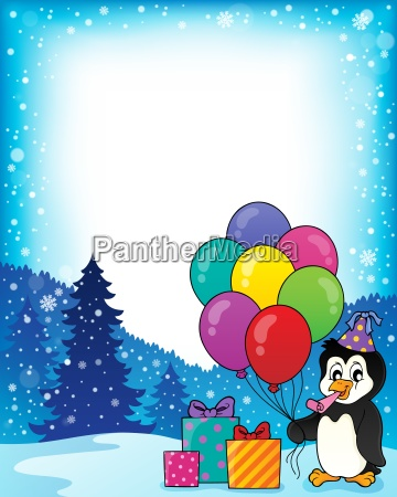 frame with party penguin topic 1