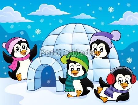 glueckliches winterpinguin themabild 3