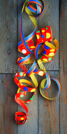 colorful streamers on wood