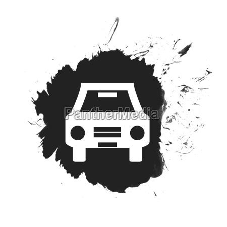 schwarzer farbfleck mit auto symbol