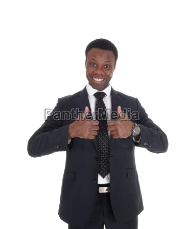 african business man with thump up
