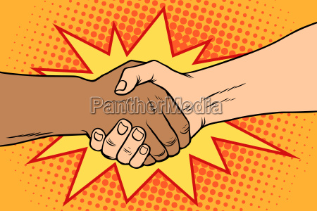 handshake black and white african and