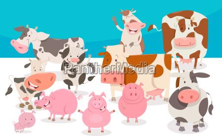 cute comic farm animal characters group