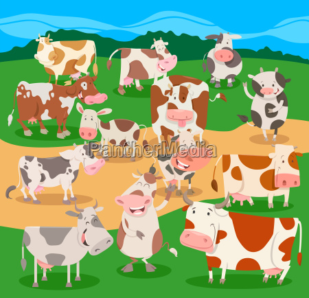 flock of cows farm animal characters