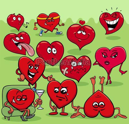 valentine hearts cartoon illustration love group