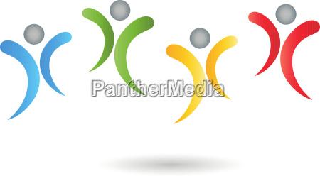people people team color logo