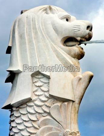 merlion statue wahrzeichen von singapore