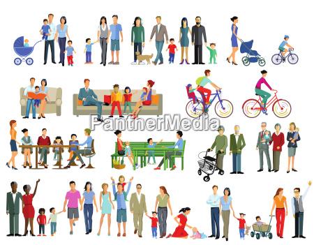 familienleben generation illustration