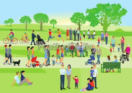 familien und personen erholen sich im