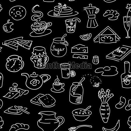 morning breakfast doodle seamless pattern on