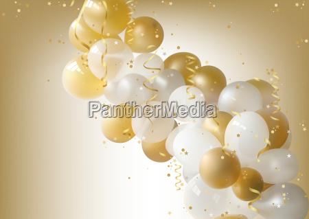 weiss und gold party balloons hintergrund