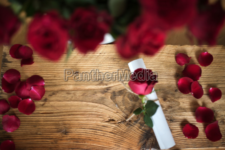 letter with roses for valentines day