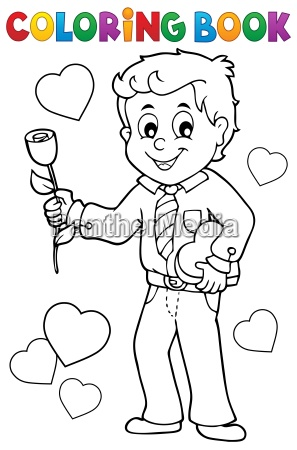 coloring book man holding rose