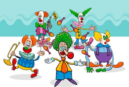 circus clowns cartoon characters group