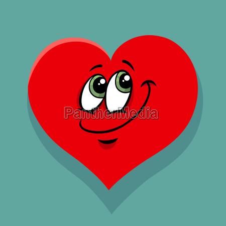 happy heart valentines cartoon illustration