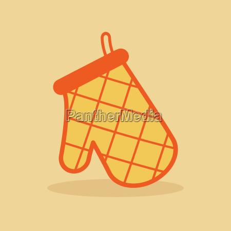 oven glove orange icon