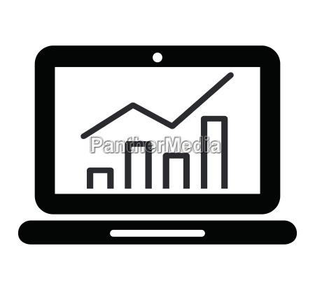 grafik auf laptop bildschirm symbol