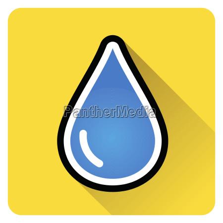 tropfen wasser ikone mit schatten