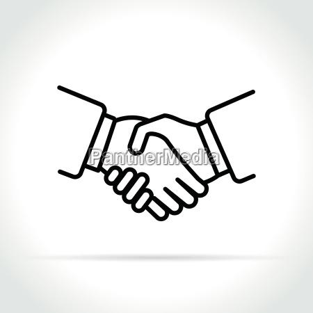 handshake ikone auf weissem hintergrund