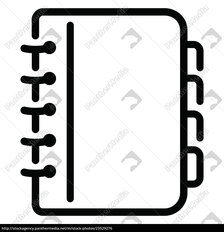 notizbuchsymbol, auf, weißem, hintergrund - 23529276