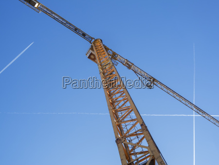 tower crane with blue sky and