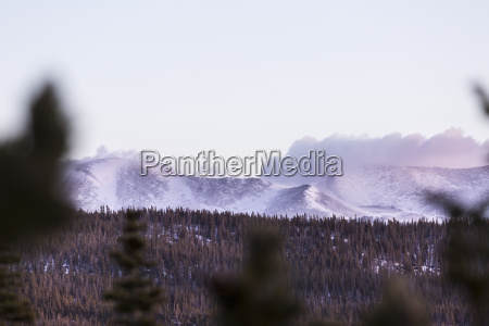 scenery with snow covered mountains and