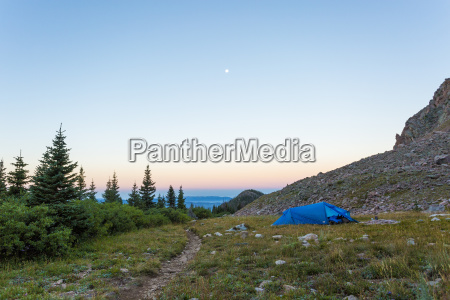camping tent in meadow state forest