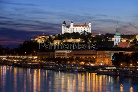 slovakia bratislava city at dusk with