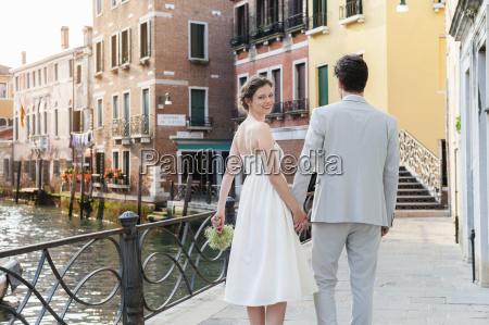 italy venice happy bridal couple walking