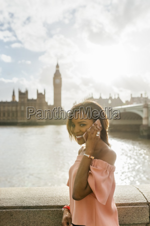 uk london woman talking on the