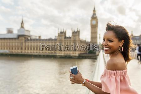 uk london portrait of smiling woman