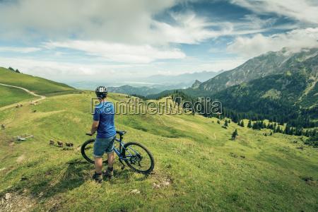 germany bavaria pfronten man with mountain