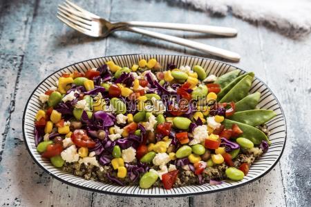 quinoa salad with edamame feta pomegranate