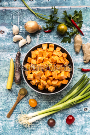 ingredients for sweet potato soup with