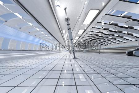3d rendered illustration futuristic interior architecture